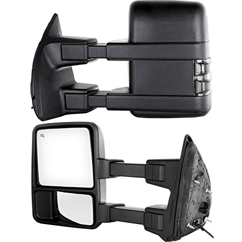 - Towing Telescoping Folding Black Textured Tow Mirrors Power Heated with Smoke Signal and Dual Glass for 08-14 Ford F250 F350 F450 F550 Super Duty Left&right Passenger&driver Side View Mirror Pair Set
