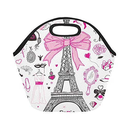Insulated Neoprene Lunch Bag Hand Drawn Doodle Collection Of Paris Symbols Large Size Reusable Thermal Thick Lunch Tote Bags For Lunch Boxes For Outdoors,work, Office, School