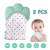 Baby Teething Mitten, Infant Self Soothing Pain Relief Hand Glove Teether, BPA Free Safe Food Grade Silicon Sounding Newborn Glove Teething Mitten Toy for 3-18 Months, Green