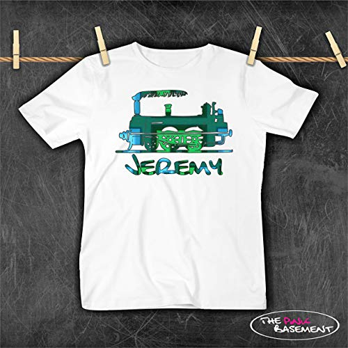 USA HANDMADE Plaid Train Personalized Name Green Blue Cool Top Girls Boys T Shirt Toddler Kids Child Childrens Clothing Clothes top Tshirt gift - Plaid Train