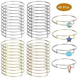 40 Pack Expandable Bangle Bracelets Adjustable Wire Bracelets Stainless Steel Blank Bracelet for DIY Jewelry Making