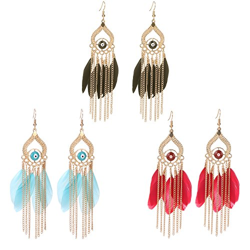 [Paxuan Womens 3 Pairs Gold Plated Alloy Handmade Feather Long Fringe Tassel Drop Dangle Hook Earrings Set (3 Pairs] (Gypsy Costume Couple)