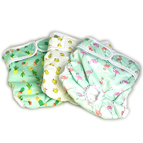 Pet Magasin Luxury Reusable Dog Diapers (3-Pack) - Durable & Washable Sanitary Wraps Panties for Female Pets with Strong & Flexible Velcro (Trending, Medium) ()