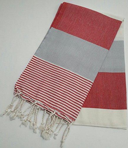 Paramus Turkish Cotton Bath Beach Spa Hammam Yoga Gym Yacht Hamam Towel Wrap Pareo Fouta Throw Peshtemal Pestemal Sheet Blanket (red) by Paramus