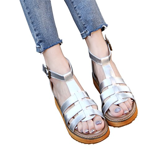 Zipper Sandals Silver Smilun Strap Lady's T Sandal Strappy Wedge pnTz4wn0