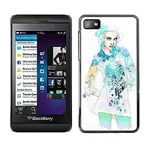 For BlackBerry Z10 - Dress Fashion Star Model Watercolor /Modelo de la piel protectora de la cubierta del caso/ - Super Marley Shop -