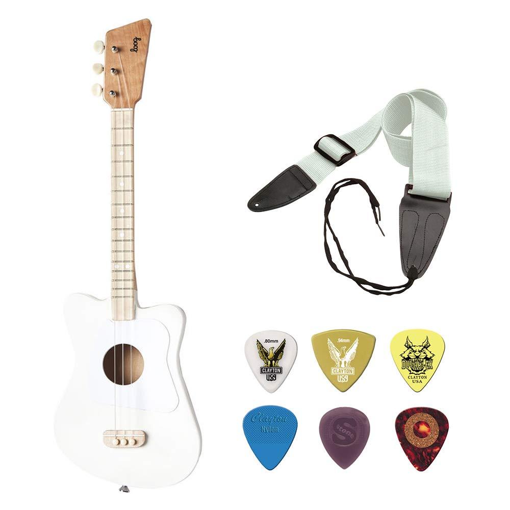 LOOG Mini Guitar for Children (White) with GSA10WT Guitar Strap and Guitar Pick 6-Pack Bundle Kellards