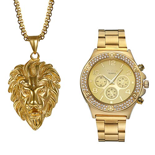 Men's Gold Bling Rhinestone Bezel Japan Quartz 30M Waterproof Watch with Biker Punk Stanless Steel Animal Lion Head Pendant Necklace Fashion Jewelry Gift Set