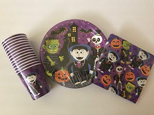 Halloween Theme Party Supplies Pack - Halloween Plates, Halloween Napkins, Halloween Cups - Scary Vampire, Spooky Pumpkin, Skeleton, Frighten  (Halloween Party Themes)