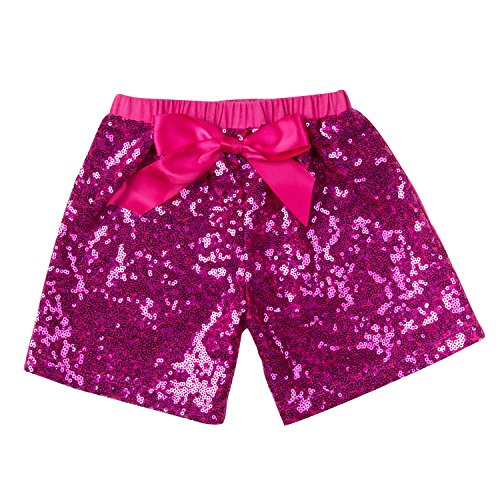 Messy Code Baby Girls Shorts Toddlers Short Sequin Pants Newborn Sparkle Shorts with Bow 2T,Hot Pink,Hot Pink,M(1-2Y)