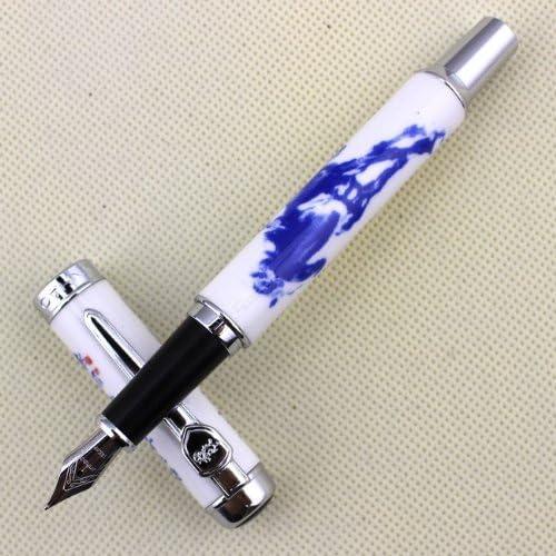 Gullor stilografica Jinhao 950 in Porcellana Bianca e Blu con la Calligrafia Cinese e Il Cavallo Medio Pennino 18kgp