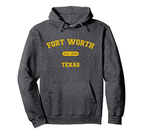 Unisex Retro School-style Fort Worth, Texas 1849 Pullover Hoodie 2XL Dark - Worth Fort Tx In University