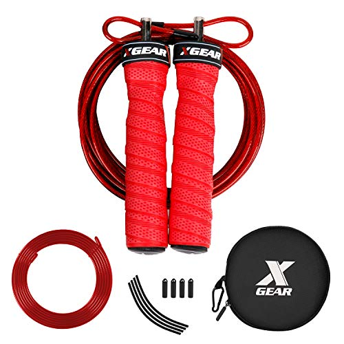 XGEAR Speed Jump Rope for Light Skipping -2 Adjustable Cable Ropes - Tangle-Free - Round Pounch-for Men Women WOD Workout,HIIT Workouts,MMA, Endurance Training (10ft, Red)