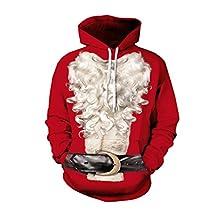 Jiayiqi Unisex Realistic Print Ugly Christmas Pocket Sweatshirt Hoodies