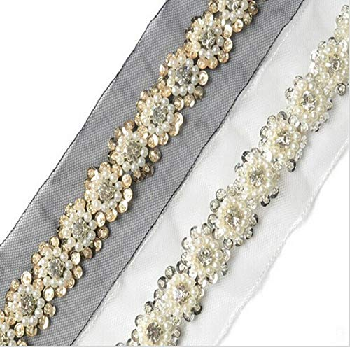 Lace Crafts - 1m/roll 5cm Width Lace Trimming Voile Ribbon Bling Sequins Rhinestone DIY Handcraft Material Clothing Bag Home Decoration - (Color: White)