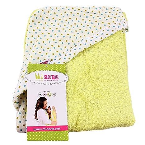 Minene 3017 - Toalla 100% algodón con capucha, 90 x 100 cm, color verde: Amazon.es: Bebé