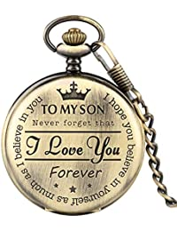 "Pocket Watch for Kids, Engraved Pocket Watch""to My Son I Love You Forever"" Bronze Pocket Watch, Personalized Son's Gift"