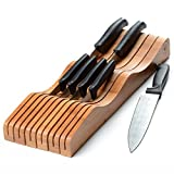 In-Drawer Bamboo Knife Block Design to Hold 10-15 Knives (Not Included) - Knife Storage Organizer Keeps Knife's Blades Store Without Pointing Up. By: Bambüsi