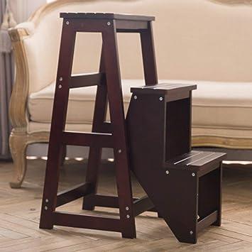 FKB@ED Paso de Heces para Adultos Plegable de Madera Maciza de 3 Capas Escalera Escalera Taburete Del Almacenaje Del Hogar Escalera / H2 / h2: Amazon.es: Bricolaje y herramientas