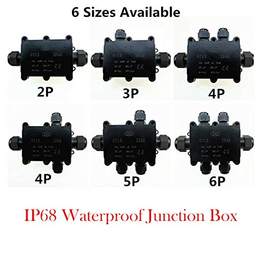 color negro negro Caja de conexiones impermeable 2 unidades, resistente al agua Supertool IP68