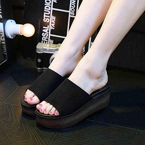 Al Manera Libre La Los Playa Deslizadores Mujer rojo Verano Para De Mujeres Zapatos verde negro Del Aire 7cm Haizhen Negro Frescos nzxIqP101