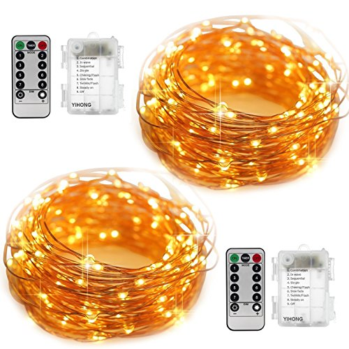Halloween Lights - YIHONG 2 Set Fairy Lights Battery Operated Fairy String Lights Waterproof 8 Modes 50 LED String Lights 16.4FT Copper Wire Firefly Lights Remote Control (Warm White)