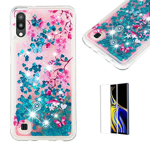 Funyye Glitter Liquid Case for Samsung Galaxy M10/A10,Stylish Multi-Coloured Sparkle Quicksand Blue Love Heart Design Ultra thin Transparent Soft Flexible Silicone Gel TPU Case for Samsung M10/A10
