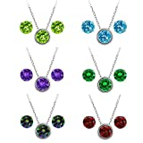 """Sterling Silver Round 6mm Pendant Earrings Set with 18"""" Sterling Silver Chain"""