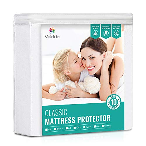 Premium Queen Waterproof Mattress Protector Bed Cover. Soft Cotton Terry Surface Fabric, Breathable, Quiet, Hypoallergenic. Dust Mite Bed Bug, Pet & Fluids Proof. Safe Sleep for Adults & Kids (Queen)