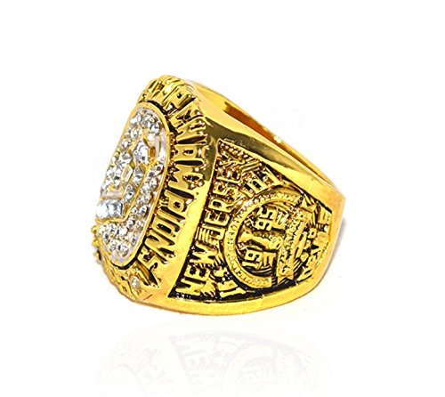 NEW JERSEY DEVILS (Claude Lemieux) 1995 STANLEY CUP FINALS WORLD CHAMPIONS Vintage Collectible High Quality Replica NHL Hockey Gold Championship Ring with Cherrywood Display Box