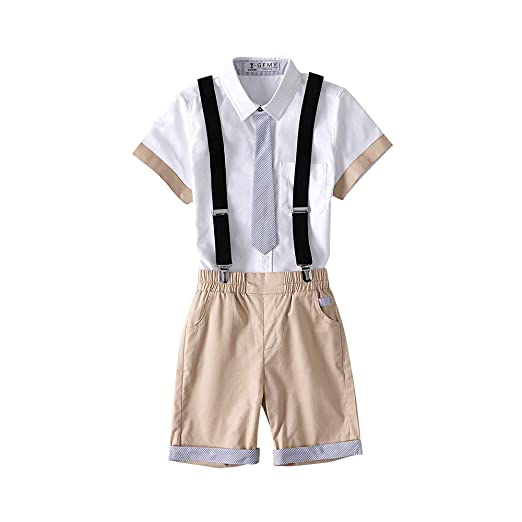 1e4aefd4b9 Kungfu ant Kids Boys 2 Pcs Gentleman Short Sleeve Tie Shirt and Overalls  Shorts Sets for 2t to Size 10 Age Little Boys