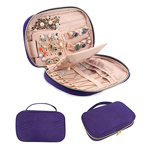 ganamoda Jewelry Travel Organizer, Soft Padded Traveling Jewelry Bag Case for Earing Necklace Rings Watch Bracelets, Make up Bags 2-in-1 Cosmetic Cases with Necklace Holder (1 Travel Watch Case)