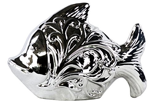 Urban Trends Ceramic Fish Figurine with Embossed Swirl Design Polished Chrome Finish Silver, Silver