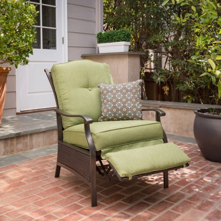 Better Homes & Gardens* Recliner Outdoor Powder Coated Steel Frame in Color Green with 1 Decorative Pillow (Better Gardens Furniture Home And Patio)