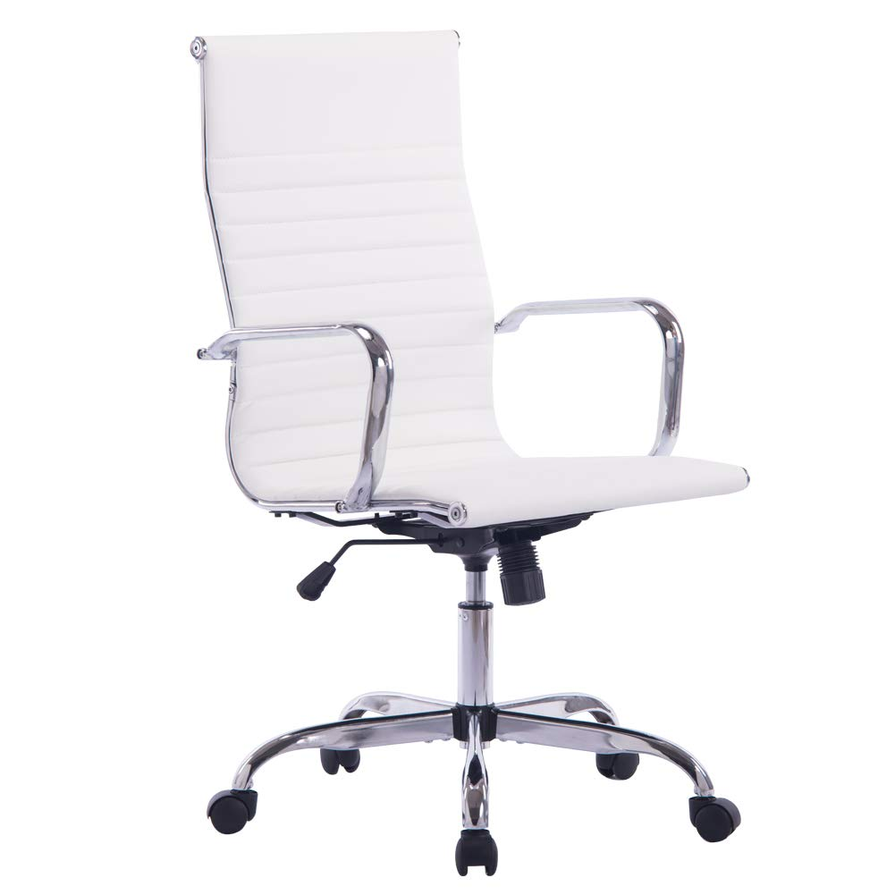 Sidanli Modern Desk Chair, High Back Executive Office Chair (White Pu Leather) by Sidanli