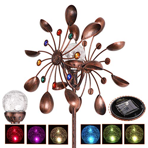 (Oteymart Solar Wind Spinner Multi-Color LED Lighting Seasonal Solar Powered Glass Ball w/Color Changing Crackle Globe Floral Fusion Metal Garden Decoration)