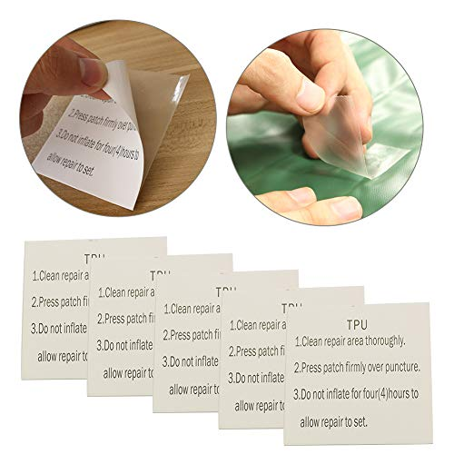 5PCS TPU Tent Tape, Translucent Waterproof Tenacious Sealing Patch Flex Paste Repair Sticker for Camping Tents, Backpacks, Awnings, Dinghies and Inflatable Mattresses (7x7CM,Translucent)