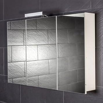 Spiegelschrank holz weiß  Galdem START100 Spiegelschrank, holz, 100 x 70 x 15 cm, weiß ...
