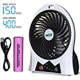 Rechargeable Portable Handheld Mini USB fan with Upgrade 2600mAh Battery,with Side Light, 3 Speeds, Personal Cooling for Traveling,Boating,Baby Stroller,Fishing,Camping