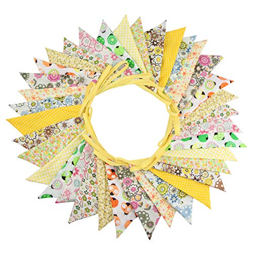 INFEI 10M/32Ft 36 Floral Fabric Triangle Flags Bunting Banner Garlands for Wedding, Birthday Party, Outdoor & Home Decoration (Yellow) ()
