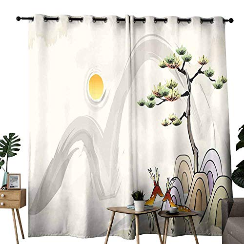 duommhome Thermal Curtains 3D Nature Wallpaper for Living, Dining, Bedroom (Pair) W72 x L96 ()
