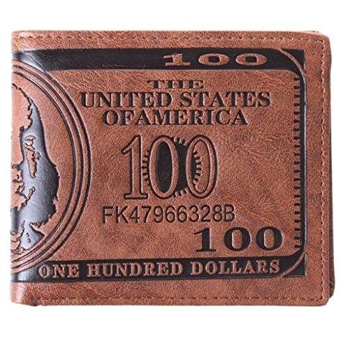 UNKE Unisex 100 US Dollar Bills Leather Wallet Credit Card Photo Holder Bifold (Boy Photo Holder)