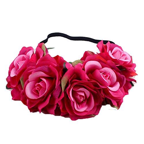 Floral Fall Festival Holiday Big Rose Flower Headband Hair Wreath Floral Headpiece Halo Crown HD-07 (Elastic Fucisha)
