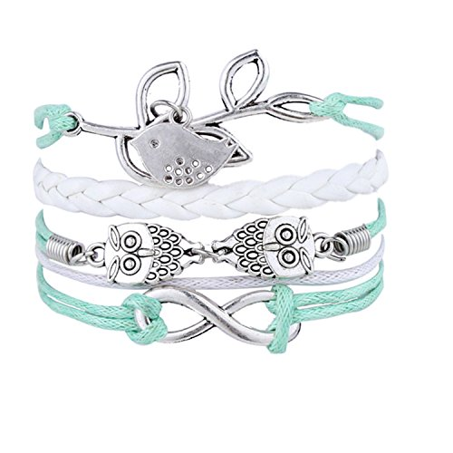 Blue Multilayer Owl Leaves Infinite Charms White Leather Bracelets With Bird Wrap Braid Bangle