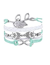 Blue Multilayer Owl Leaves and Infinite Charms Handmade White Leather Bracelets with Bird Wrap Braid Bangle for Women