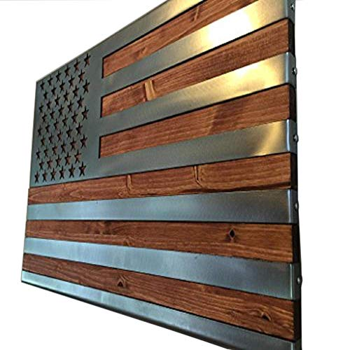Metal Art of Wisconsin Metal Art US Flag Metal Decor, Patriotic Wall Art, Hand Oiled Pine Polished 3 Foot -