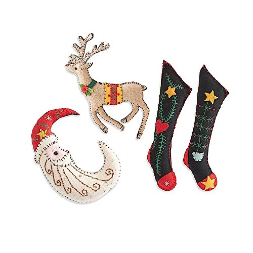 Felt Holiday Ornaments, Applique and Embroidery Set (4 Moon Reindeer and Stockings)