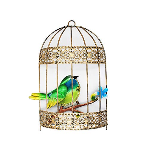 VOTENVO Galvanized Colorful Art Birdcage Wall Décor Metal Bird Cage Wall Art Plaque Metal Iron Decorative Painting (Green Bird)