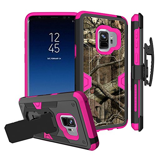 Untouchble Case for Samsung Galaxy S9 Plus Pink Case [S9 Plus Holster Case] [Mystic CASE] Pink Dual Layer Shockproof Case Defender Protector [Kickstand] and [Holster] - Real Hunter Camo