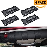 #2: Grab Bar Handle for Select Jeep Wrangler, UTV,Quad Gear(4-PACK) Fits 1 1/2 to 3 Inch Roll Bars, Moveland Heavy Duty grip handles,Easy-to-Fit 3 Straps Design